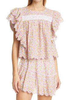 LoveShackFancy Nelson Floral Ruffle Top