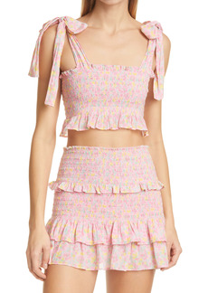LoveShackFancy Norleen Smocked Crop Top