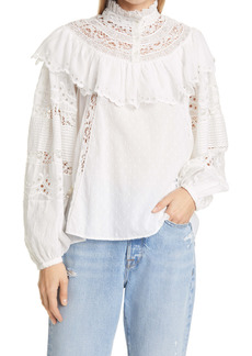 LoveShackFancy Orlando Ruffle Lace Blouse