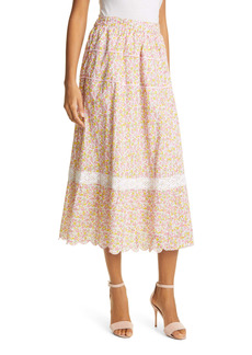 LoveShackFancy Saratoga Floral Cotton Skirt