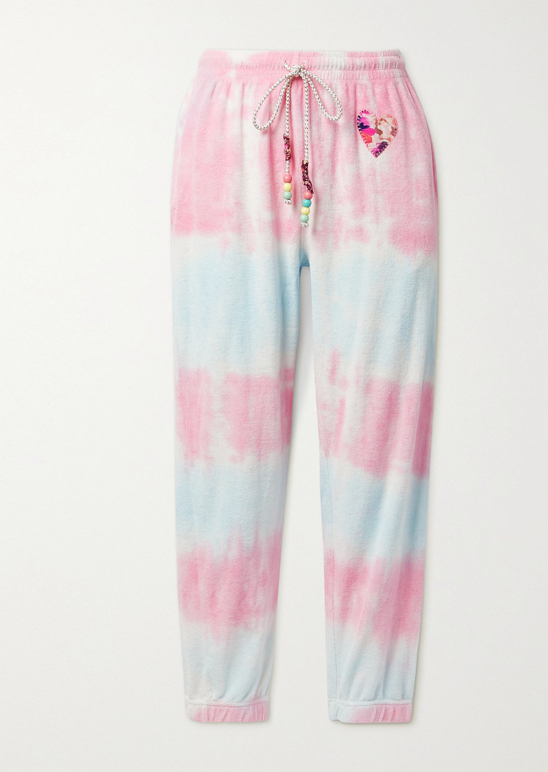 LoveShackFancy Santinella Bead-embellished Appliquéd Tie-dyed Cotton-terry Track Pants