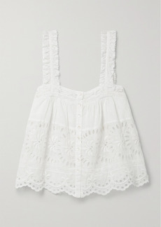 LoveShackFancy Sully Crochet-trimmed Broderie Anglaise Cotton Tank