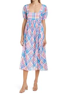 Women's Loveshackfancy Kimball Plaid Ruffle Midi Dress