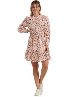Lucky Brand Long Sleeve Button-Up Tie Waist Printed Riley Maxi Dress