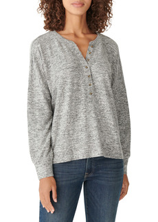Lucky Brand Brushed Hacci Knit Henley Top