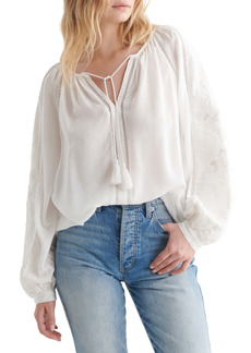 Lucky Brand Cutwork Peasant Blouse