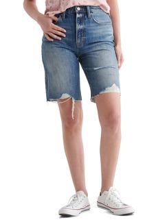 Lucky Brand Destroyed Hem Cutoff Denim Bermuda Shorts (Delta)