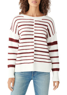 Lucky Brand Drop Shoulder Textured Stripes Sweater