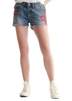 Lucky Brand Embroidered Boyfriend Nonstretch Denim Cutoff Shorts
