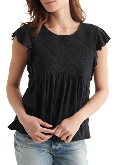 Lucky Brand Embroidered Flutter Sleeve Top