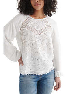 Lucky Brand Eyelet Popover Top