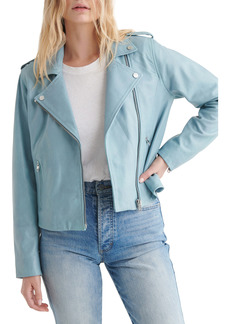 Lucky Brand Light Blue Leather Moto Jacket