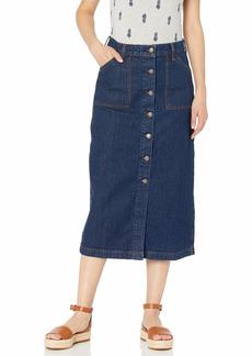 Lucky Brand Women's High Rise Button Thru Midi Skirt