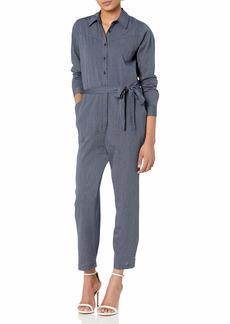 Lucky Brand Women's Long Sleeve Button Up Tie Waist Logan Stipe Jumpsuit