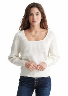 Lucky Brand Women's Long Sleeve Soft Spoken Square Neck Pullover Sweater  L