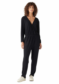 Lucky Brand Women's Long Sleeve Wrap Front Brushed Hacci Jumpsuit  L