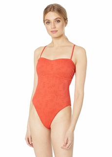 Lucky Brand Women's One Piece Swimsuit hot Coral//Doheny Beach L