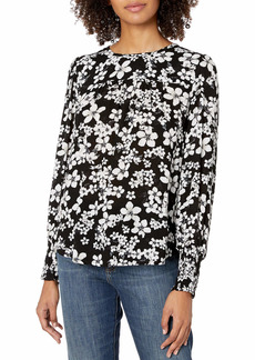 Lucky Brand Women's Printed Smocked Cuff Top  XS