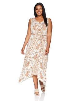 Lucky Brand Women's Size Plus Allover Print V-Neck Maxi Dress  1X
