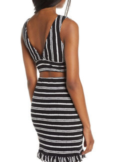 Women's Luli Fama Stripe V-Neck Cotton Blend Crop Top