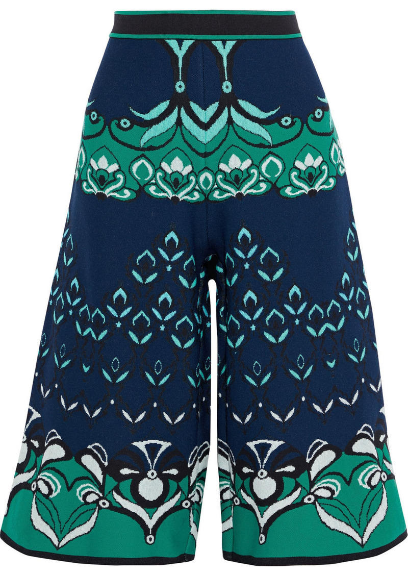 M Missoni Woman Jacquard-knit Culottes Navy