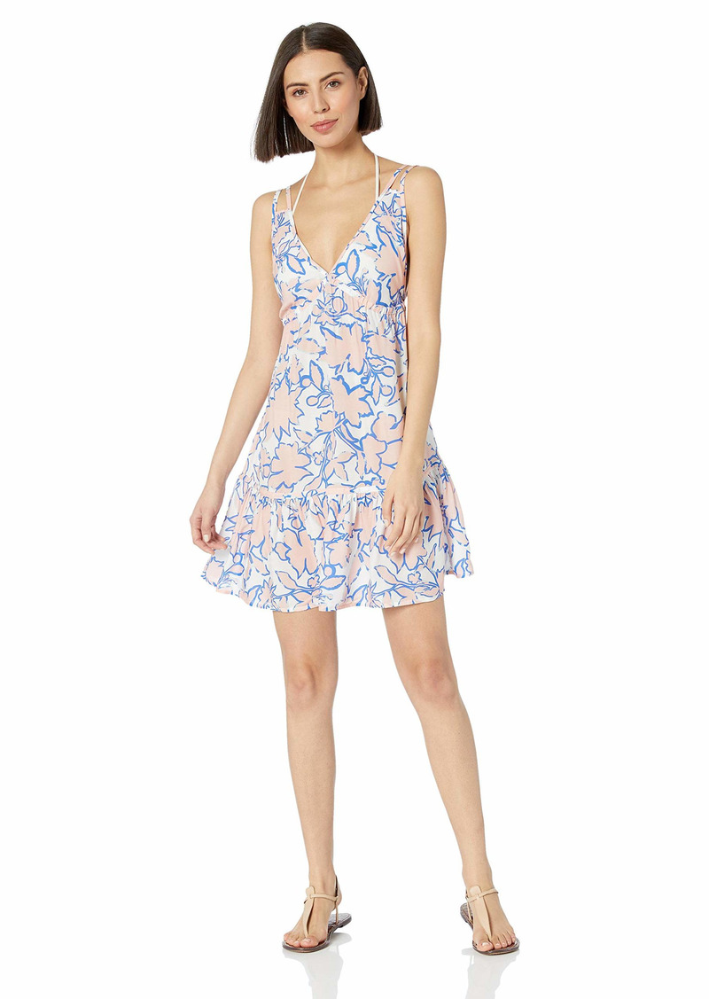 Maaji Women's Double V Neckline with Ruffle Hem Cover Up Dress Planning Dreams White geo Floral