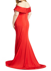 Mac Duggal Off the Shoulder Mermaid Evening Gown (Plus Size)