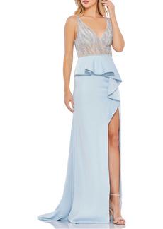Mac Duggal Sequin Peplum Bodice Gown