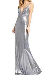 Mac Duggal Shimmer Metallic Faux Wrap Gown