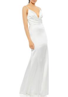 Women's MAC Duggal Faux Wrap Trumpet Gown