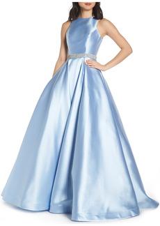 Women's MAC Duggal Jeweled Waist Satin Twill Evening Dress