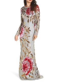 Women's MAC Duggal Long Sleeve Sequin Column Gown