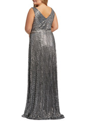 Mac Duggal Embellished Faux Wrap Gown (Plus Size)