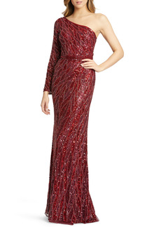 Mac Duggal Embellished One-Sleeve Gown
