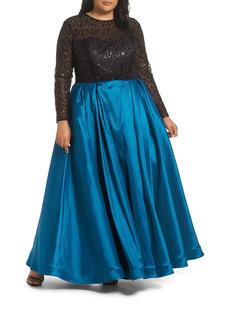 Mac Duggal Long Sleeve Embellished Taffeta Ballgown (Plus Size)