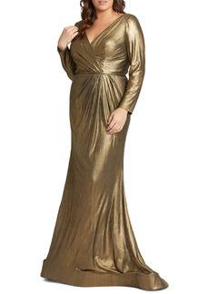 Mac Duggal Metallic Long Sleeve Faux Wrap Gown (Plus Size)