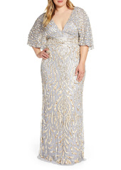 Mac Duggal Sequin Cape Sleeve Evening Gown (Plus Size)
