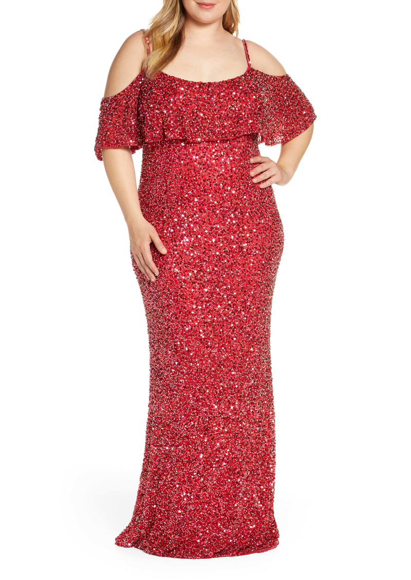 Mac Duggal Sequin Cold Shoulder Popover Evening Gown (Plus Size)
