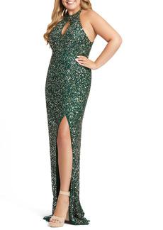 Mac Duggal Sequin Mesh Evening Dress (Plus Size)