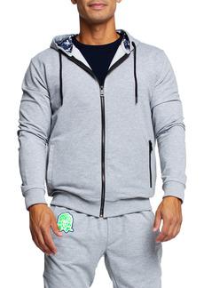 Maceoo Tie Dye Detail Zip Front Stretch Cotton Fleece Hoodie
