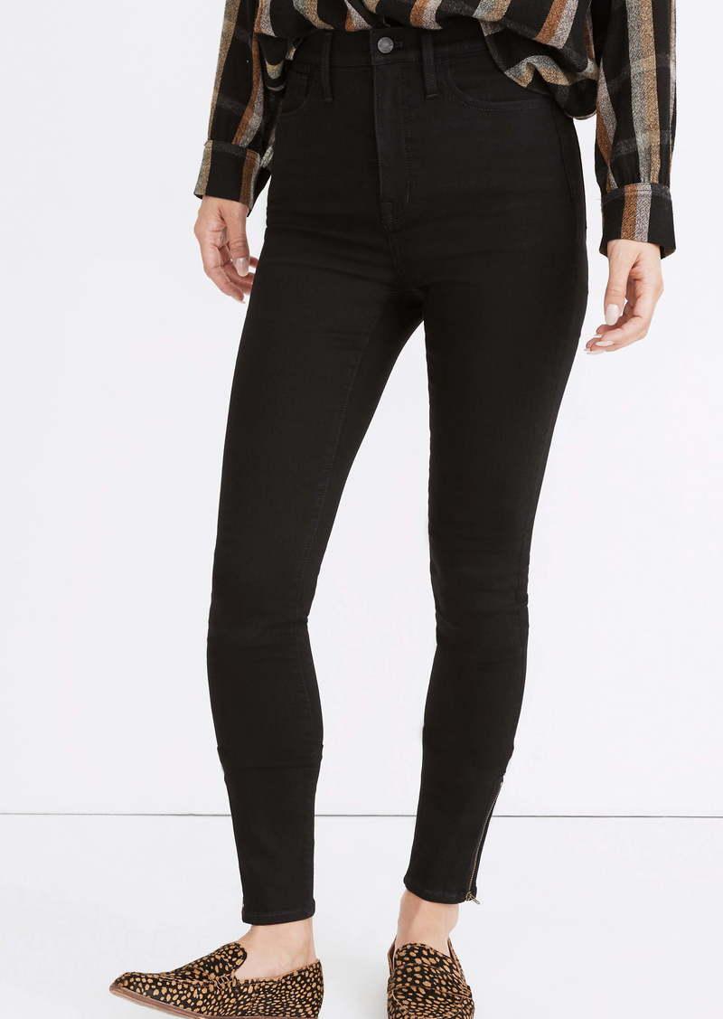 Madewell 11-Inch Roadtripper Ankle Zip Skinny Jeans (Black Frost)