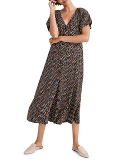 Madewell Adorable Ditsy Bubble Sleeve Button Front Midi Dress