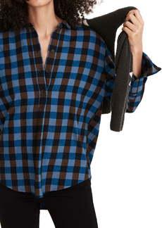 Madewell Drop Shoulder Flannel Popover Top