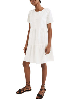 Madewell Embroidered Eyelet Tiered Minidress
