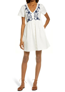 Madewell Embroidered Linen Blend Button Front Minidress