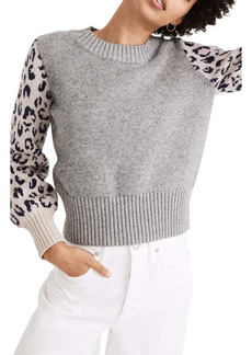 Madewell Leopard Sleeve Tensley Cotton & Merino Wool Sweater