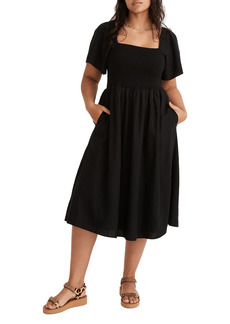 Madewell Lucie Linen Blend Smocked Midi Dress