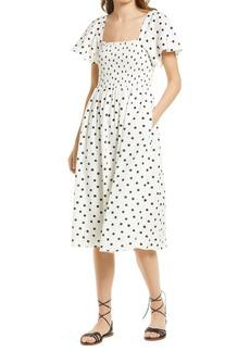 Madewell Lucie Smocked Linen Blend Midi Dress