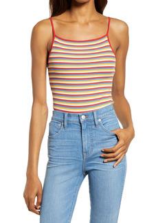 Madewell Rainbow Stripe Ribbed Thong Bodysuit