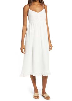 Madewell Silk Ruched Ruffle Hem Midi Dress